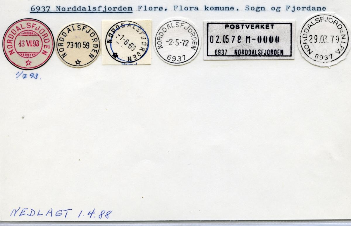 Stempelkatalog  6937 Norddalsfjorden, Florø, Flora, Sogn og Fjordane