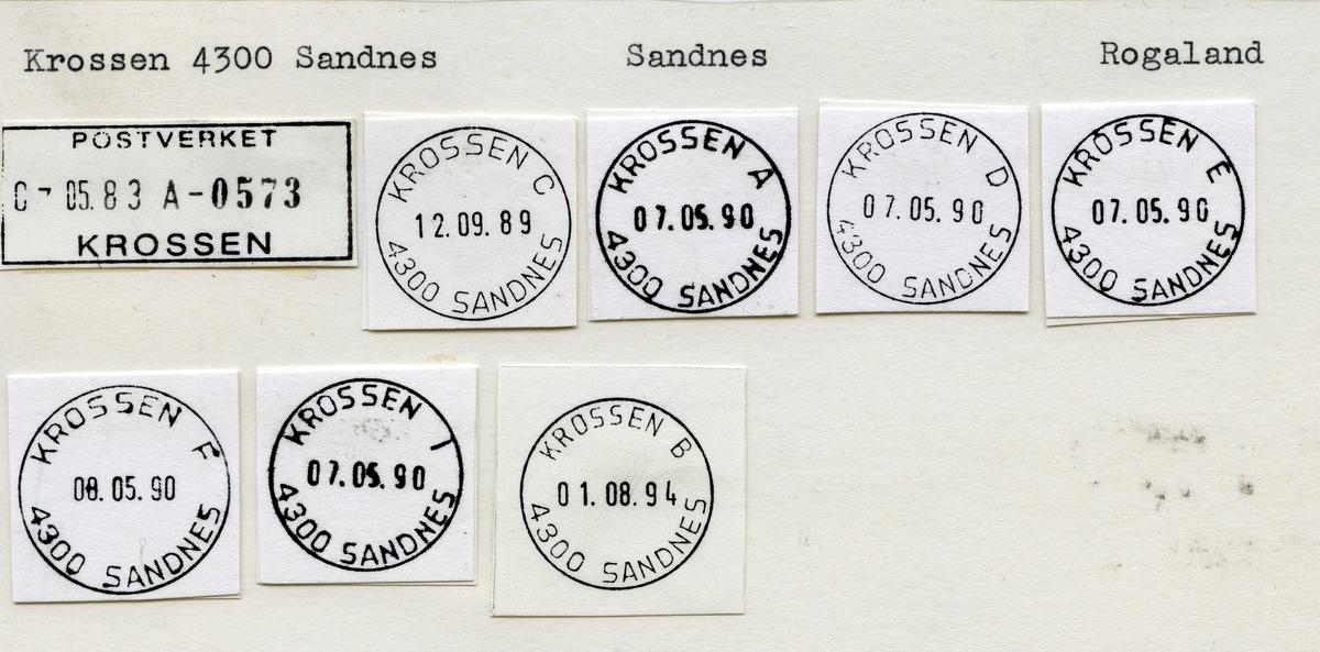 Stempelkatalog Krossen 4300 Sandnes, Rogaland