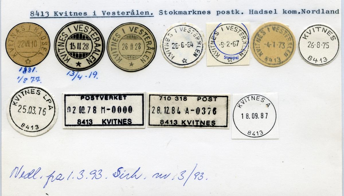 Stempelkatalog 8413 Kvitnes i Vesterålen (Kvitnæs i Hadsel, Kvitnes i Vesteraalen), Stokmarknes, Hadsel, Nordland