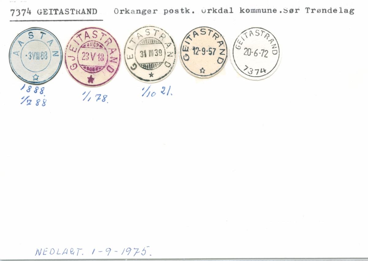 Stempelkatalog 7374 Geitastrand (Aastan, Gjeitastrand), Orkanger, Orkdal, Sør-Trøndelag