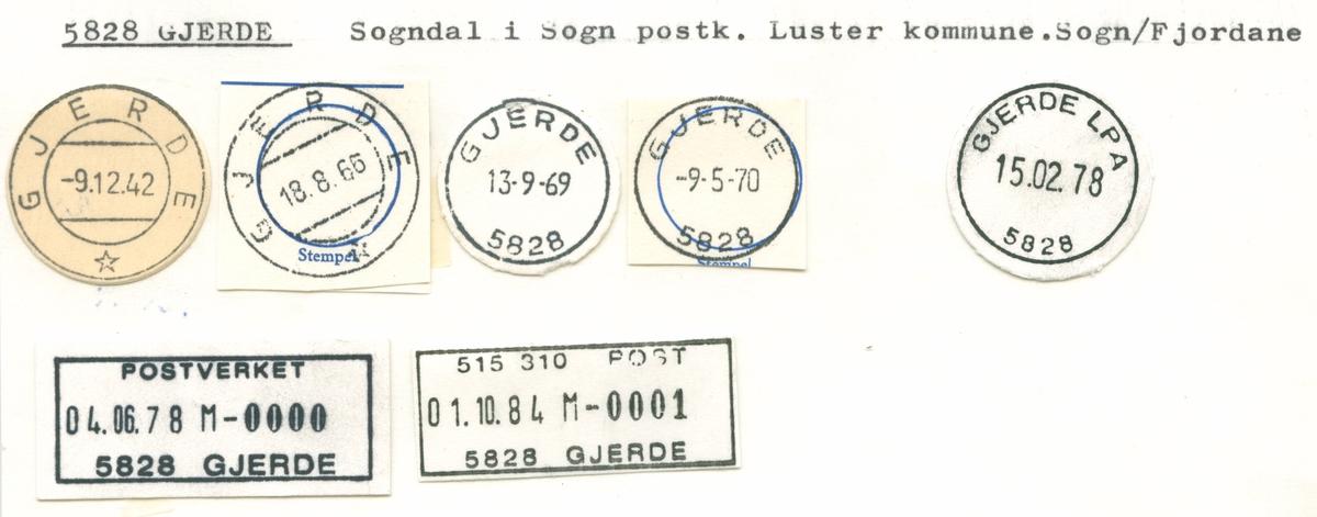 Stempelkatalog 5828 Gjerde, Sogndal, Luster, Sogn og Fjordane