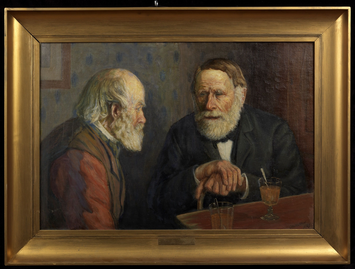 2 gamle menn med skjegg, halvfigur, den ene høyreprofil, rød skjorte, brun vest, den andre venstrevendt, svart jakke.