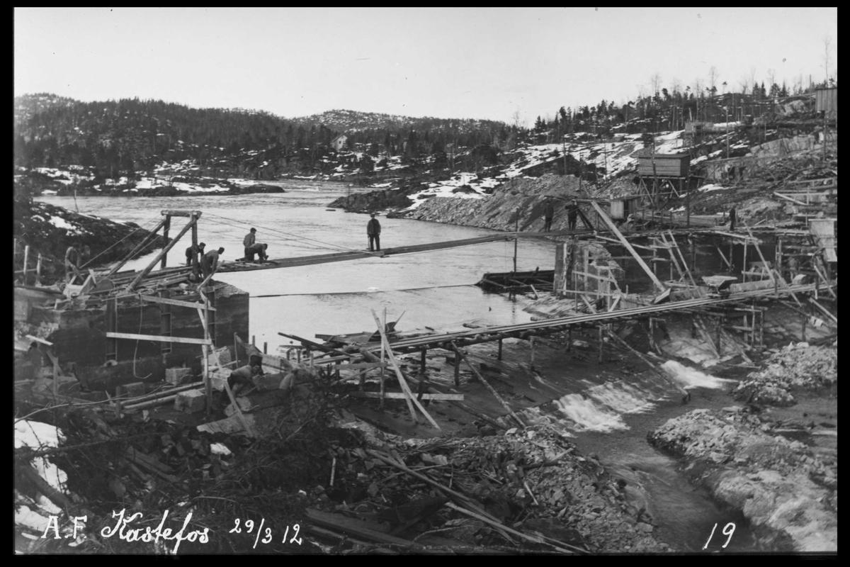 Arendal Fossekompani i begynnelsen av 1900-tallet CD merket 0565, Bilde: 27 Sted: Haugsjå Beskrivelse: Tidlig byggearbeider