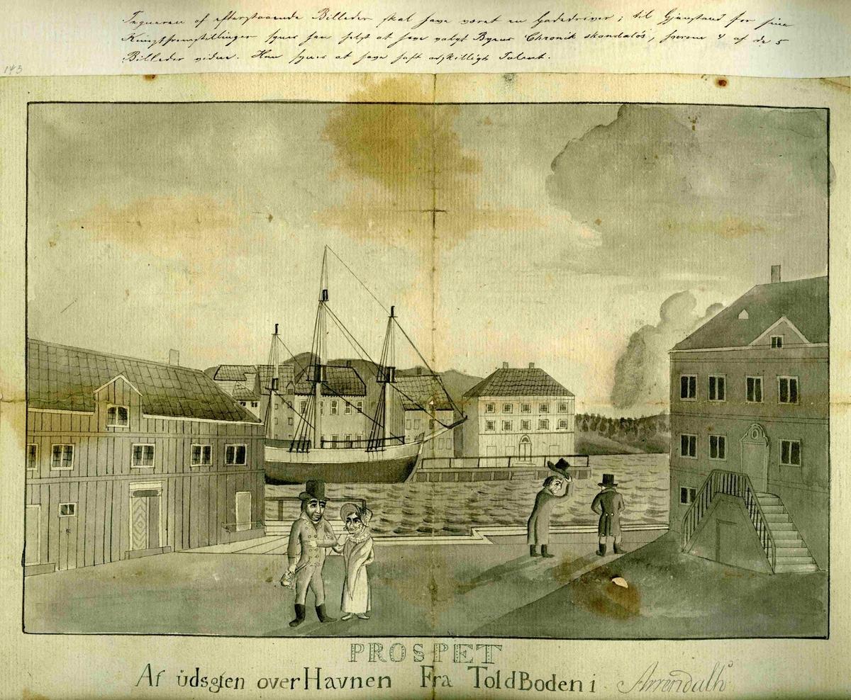 Prospekt av utsikten over havnen fra Tolboden i Arendal.  Orginal tegning