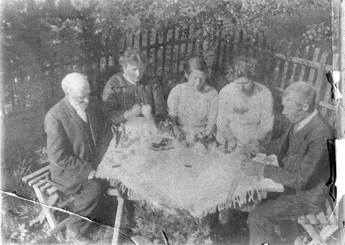 Fem personer i kaffeselskap i hagen.