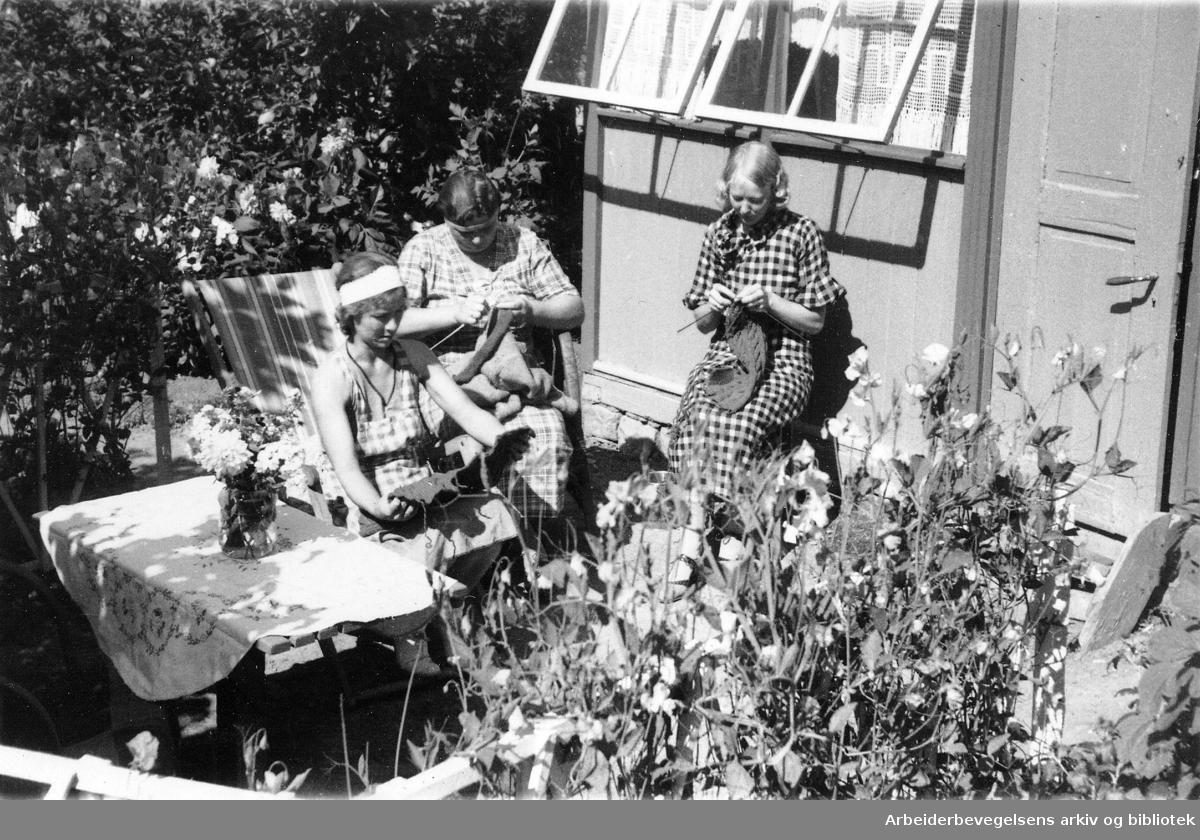 Strikkende damer på ferie på Lindøya, .1939.