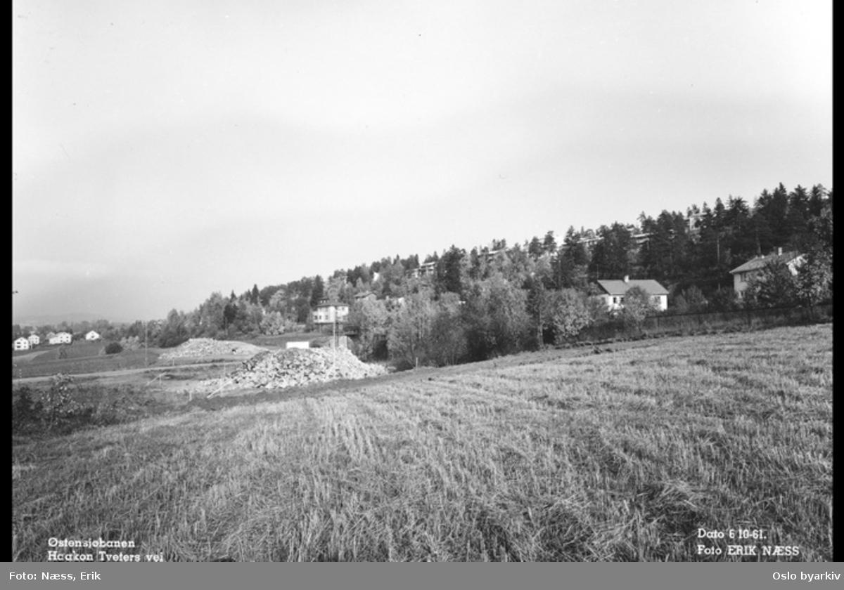 Haakon Tveters vei med jorder og bebyggelse mellom Skøyenåsen og Oppsal stasjoner