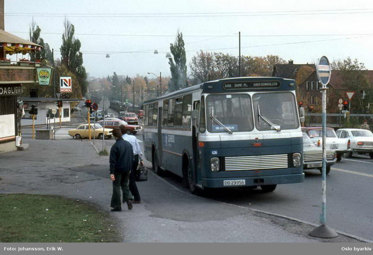 Buss, De Blå Omnibusser, DBO buss 436, linje mellom Arbeidersamfunnets plass og Grefsenkollen, sjåfør skal spise middag på Bakkekroen.