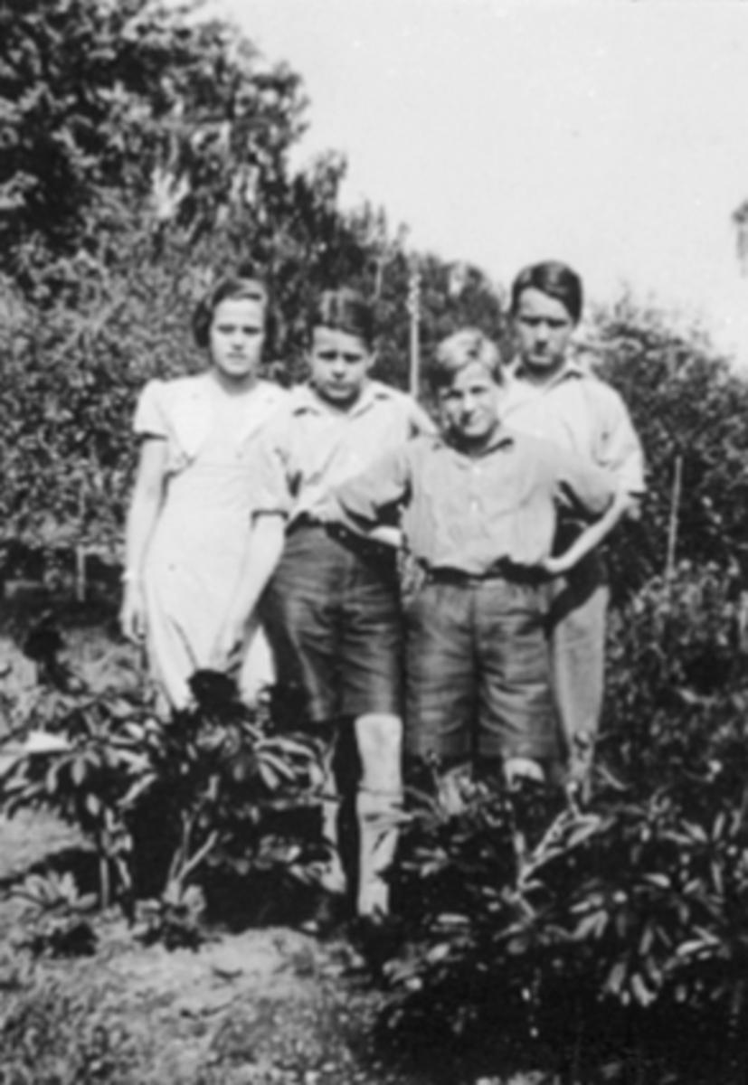 GRUPPE 4 FAMILIEN HILLE FRA VENSTRE: ELISABETH, HARALD, GEORG OG ARNOLD