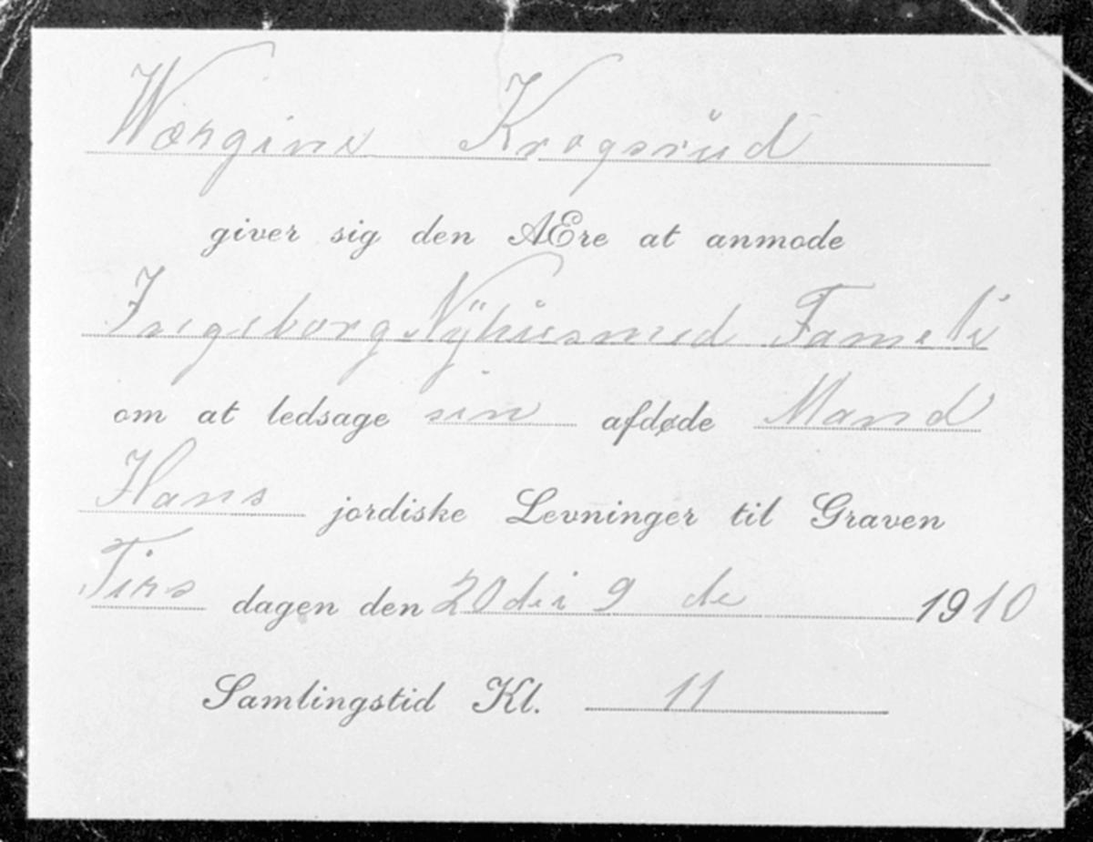 Invitasjon til begravelse den 20.9.1910. Gjelder Peder Nilsen Krogsrud f.1822. Hans enke er Wærgine/Birgine/Gina Hansdatter f.1851.