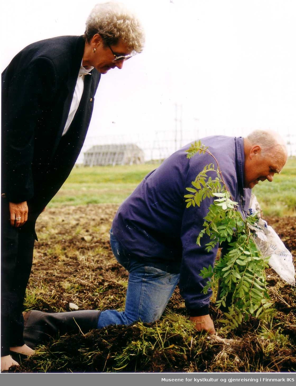 """Fra festivaldagene """"Sommer i Berlevåg"""" og """"plant ett tre"""" aksjonen. Reidun Hammer og """"Boja"""" Odd Lunde Skancke planter et rognetre utenfor Helsesentret, 1992"""