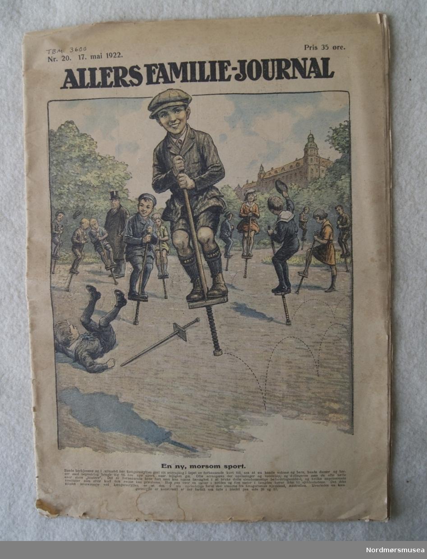 Ukeblad i avisformat. Utapå er det et stort fargebilde av barn med hoppestokker.