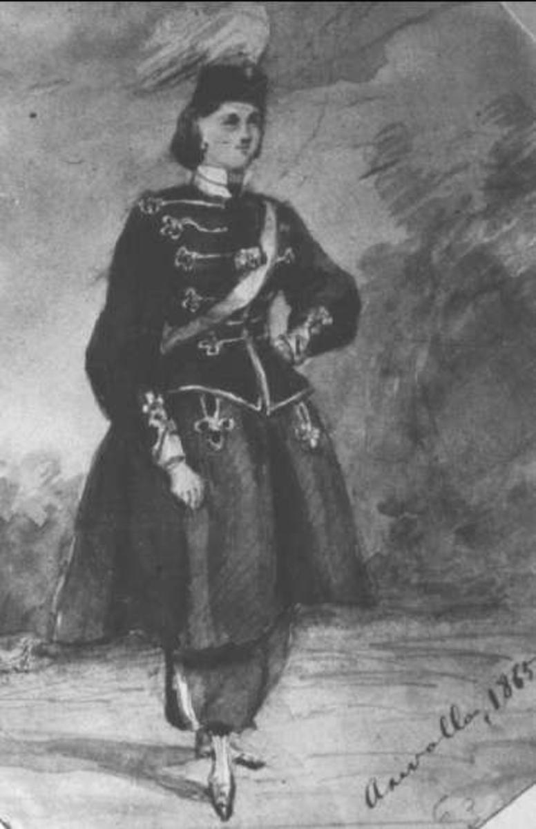 Akvarell av kabinettskammarherren hos Konung Carl XIV Johan, Frits L von Dardel. Marketenterska vid Kungliga Livregementets husarer, hon hette Evelina Hedlund.