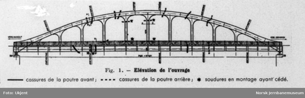 Tegninger av en bruovergang med fransk tekst