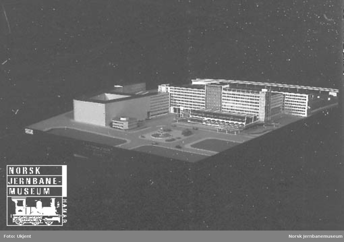 Modell av Oslo S, personstasjonen 1949, Engh & Qvam Arkitekter MNAL, gammelt forslag