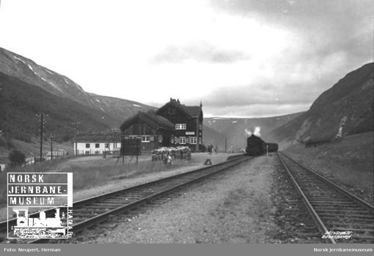 Damplokomotiv med persontog ankommer Drivstua stasjon nordfra