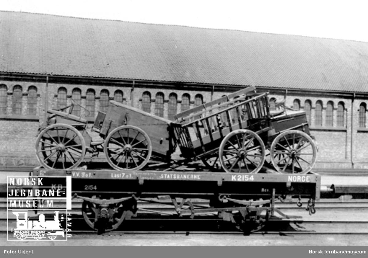 Kongsvingerbanens vogn litra K nr. 2154 lastet med artillerimateriell; håndverkervogn og pakkvogn