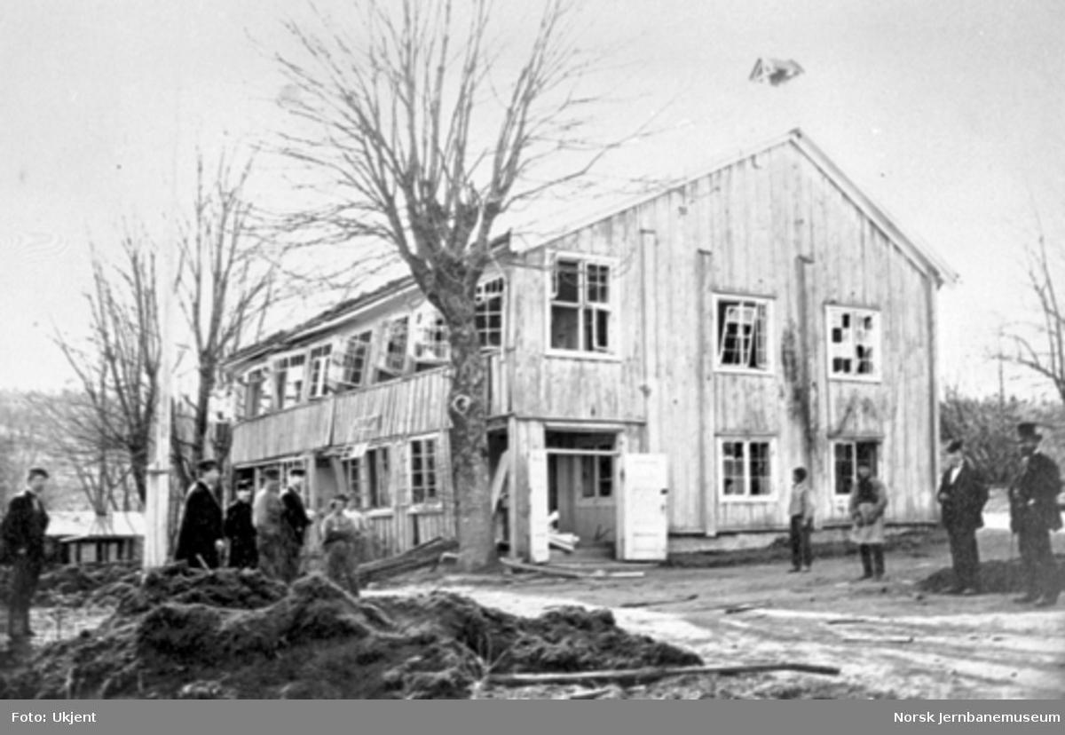 Ødelagt hus etter eksplosjon ved nitroglyserinfabrikken på Lysaker $shfoto