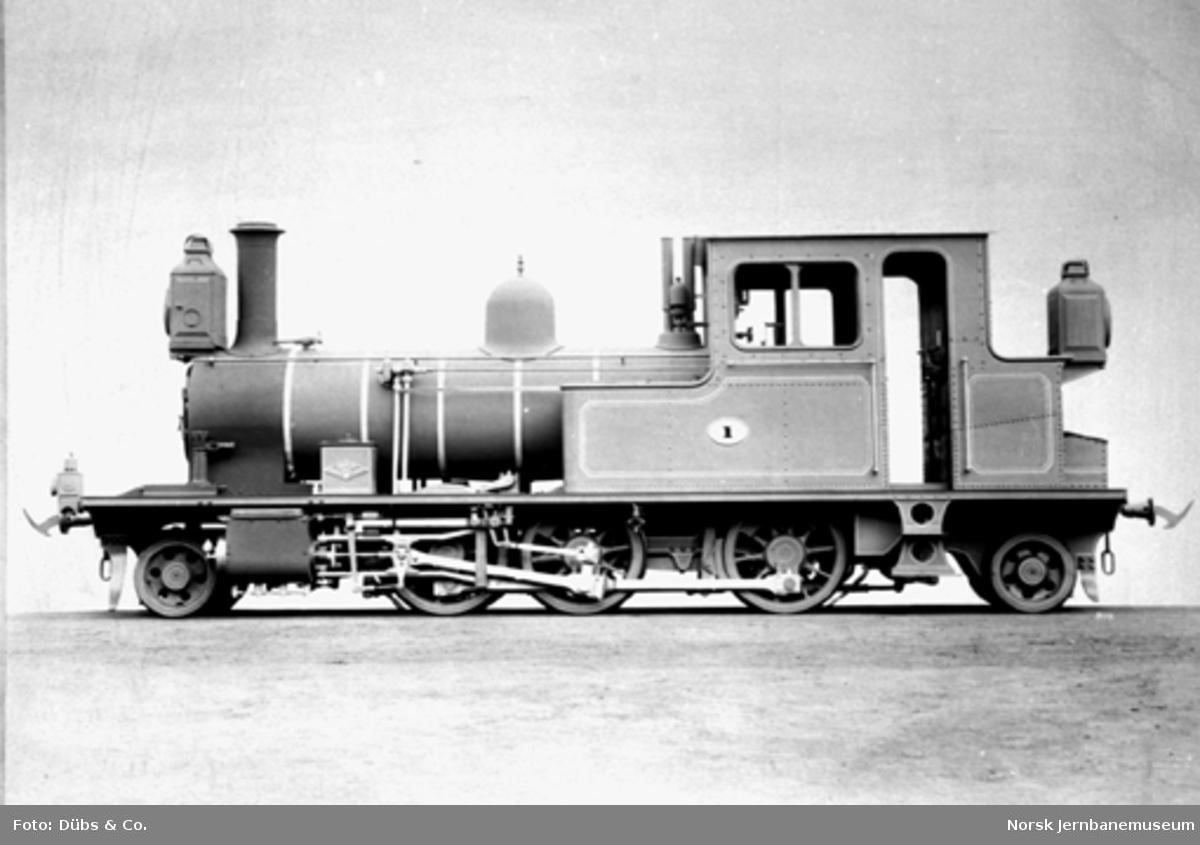 Setesdalsbanens damplokomotiv type XXI nr. 1 ved levering fra Dübs