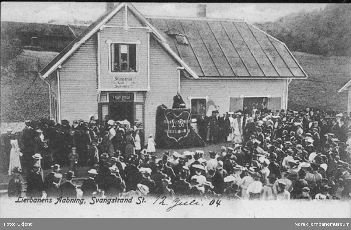 Åpningshøytideligheten på Svangstrand stasjon ved Lierbanens åpning