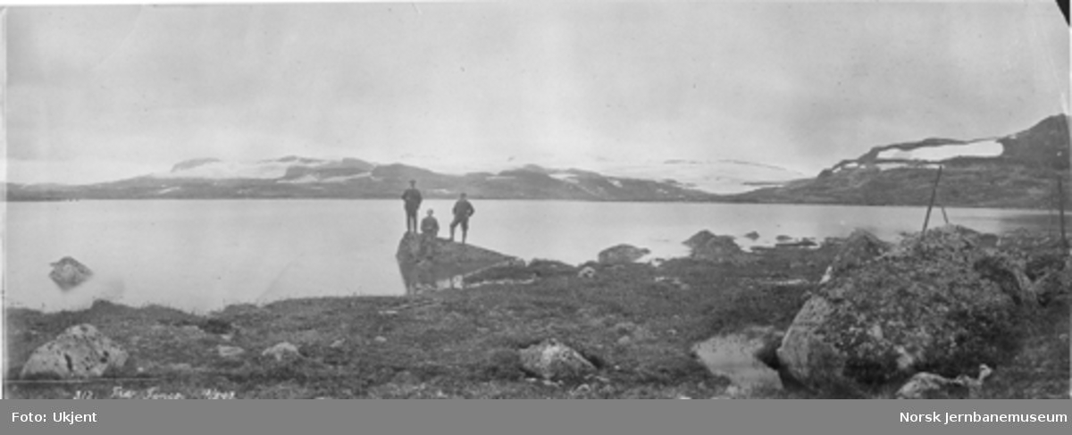 Tre menn poserer på en stein i Finsevann