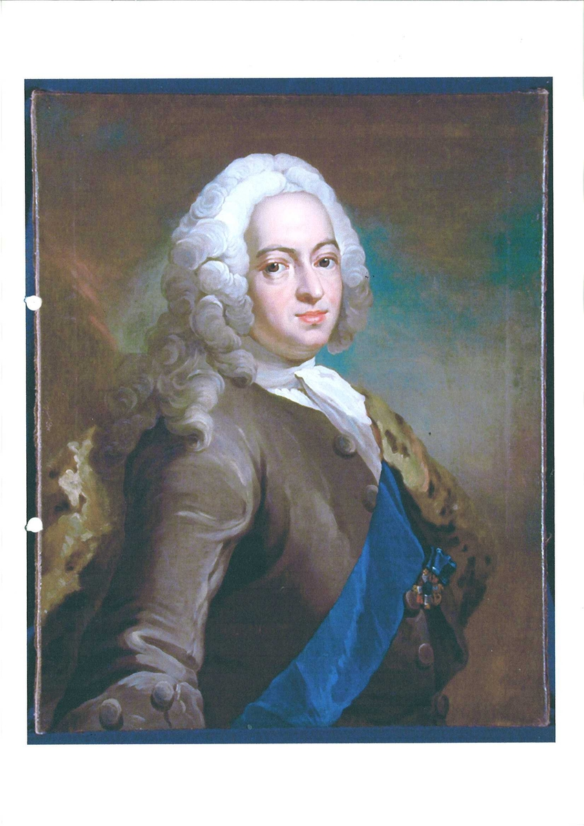 Mann m/parykk, brun jakke m/blått ordensbånd, grev Johan Sigismund u. Schulin