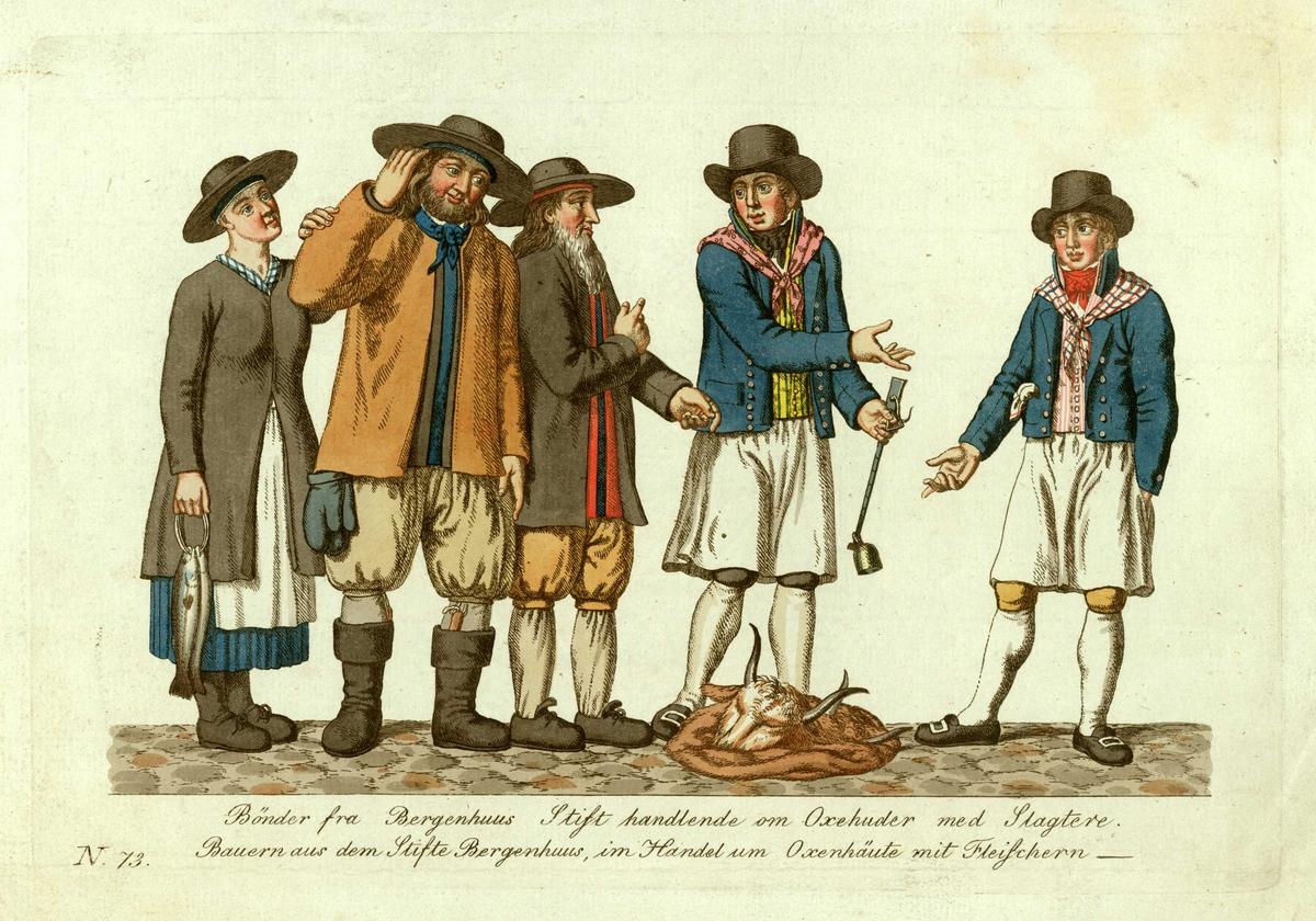Bondegruppe (2 menn og 1 kvinne) i folkedrakter fra Bergenhus stift forhandler om oksehuder med 2 slaktere i yrkesdrakt. Den ene slakteren holder i en bismer, kvinnen et knippe med fisk.