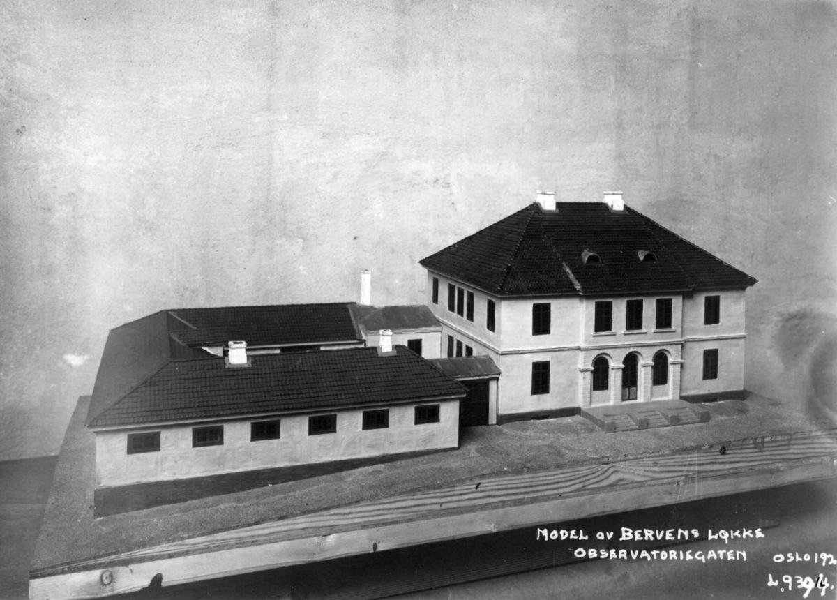 Bervens Løkke, Observatoriegata, Oslo. Modell.