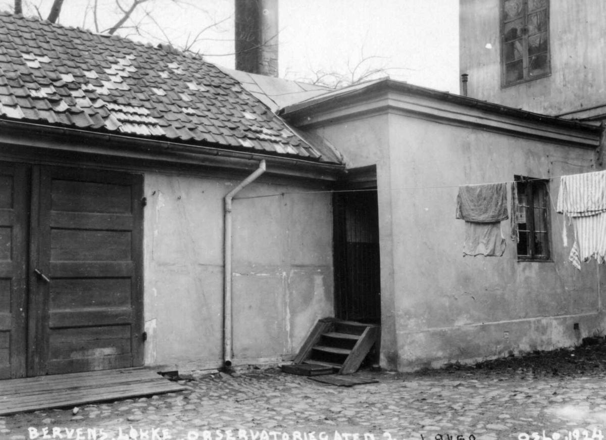 Bervens Løkke, Observatoriegata 2, Oslo 1924. Hus i gårdsrom.