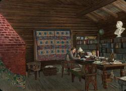 Postkort. Julehilsen. Fridtjof Nansen i sitt arbeidsværelse.