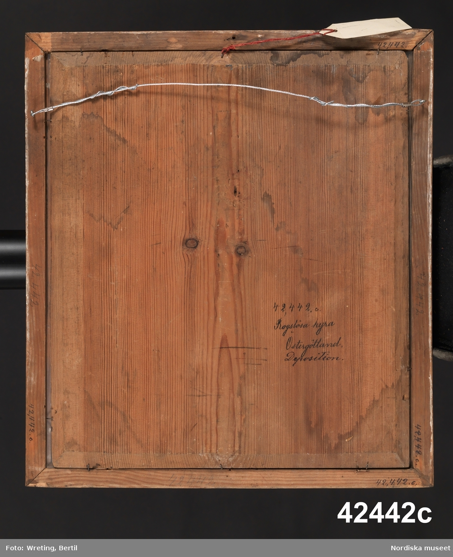 """Huvudliggaren: """"Tal fr. Rogslösa kyrka, Dals hd, Östergötland. a. Två tal af Gustaf III. Båda tryckta i Stockholm, det ena 1771, det andra 1772. Inom ramar. b. Tal af Karl XIII. Från 1810. Inom ram. Dep. af Rogslösa församling, Österg. gm prosten kyrkoh. P. Lundborg, Rogslösa 22/10 1881."""""""
