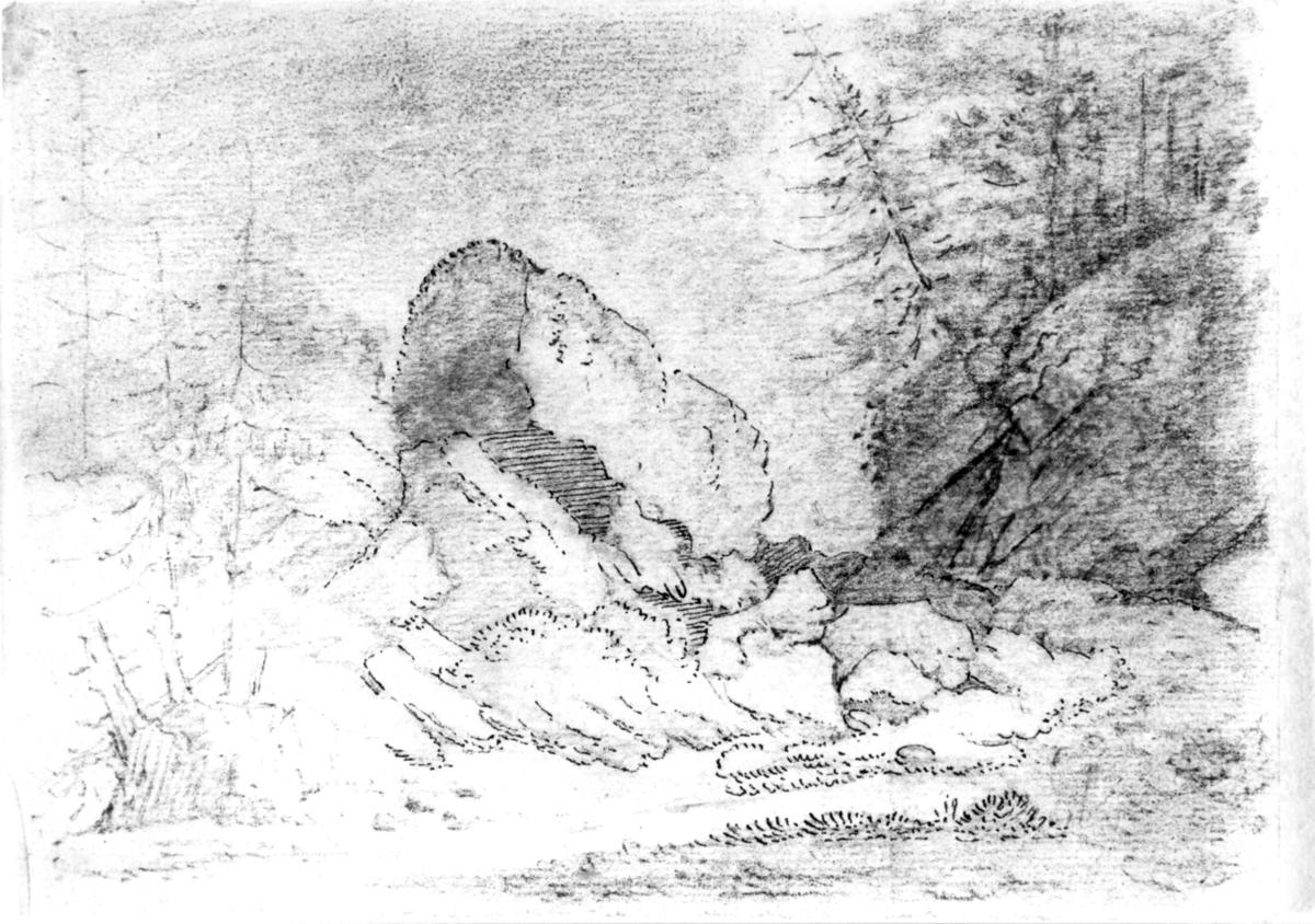 """Ukjent stedFra skissealbum av John W. Edy, """"Drawings Norway 1800""""."""