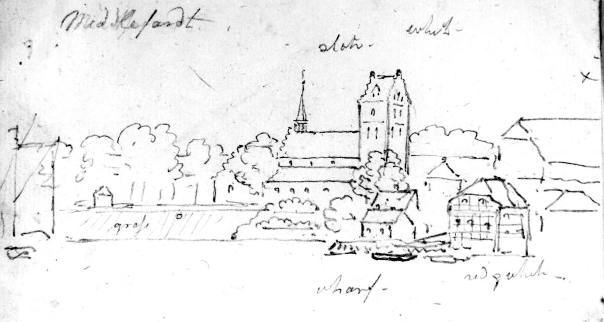 """Middelfart, Jylland, Danmark. Fra skissealbum av John W. Edy, """"Drawings Norway 1800""""."""