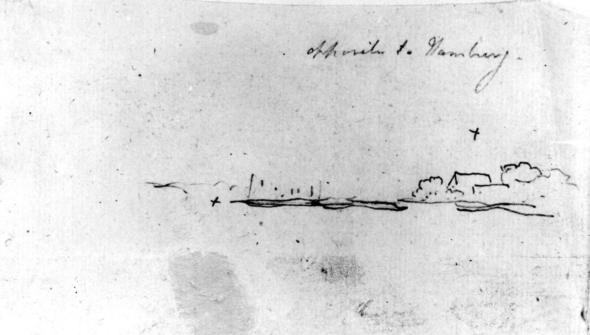 """HamburgFra skissealbum av John W. Edy, """"Drawings Norway 1800""""."""