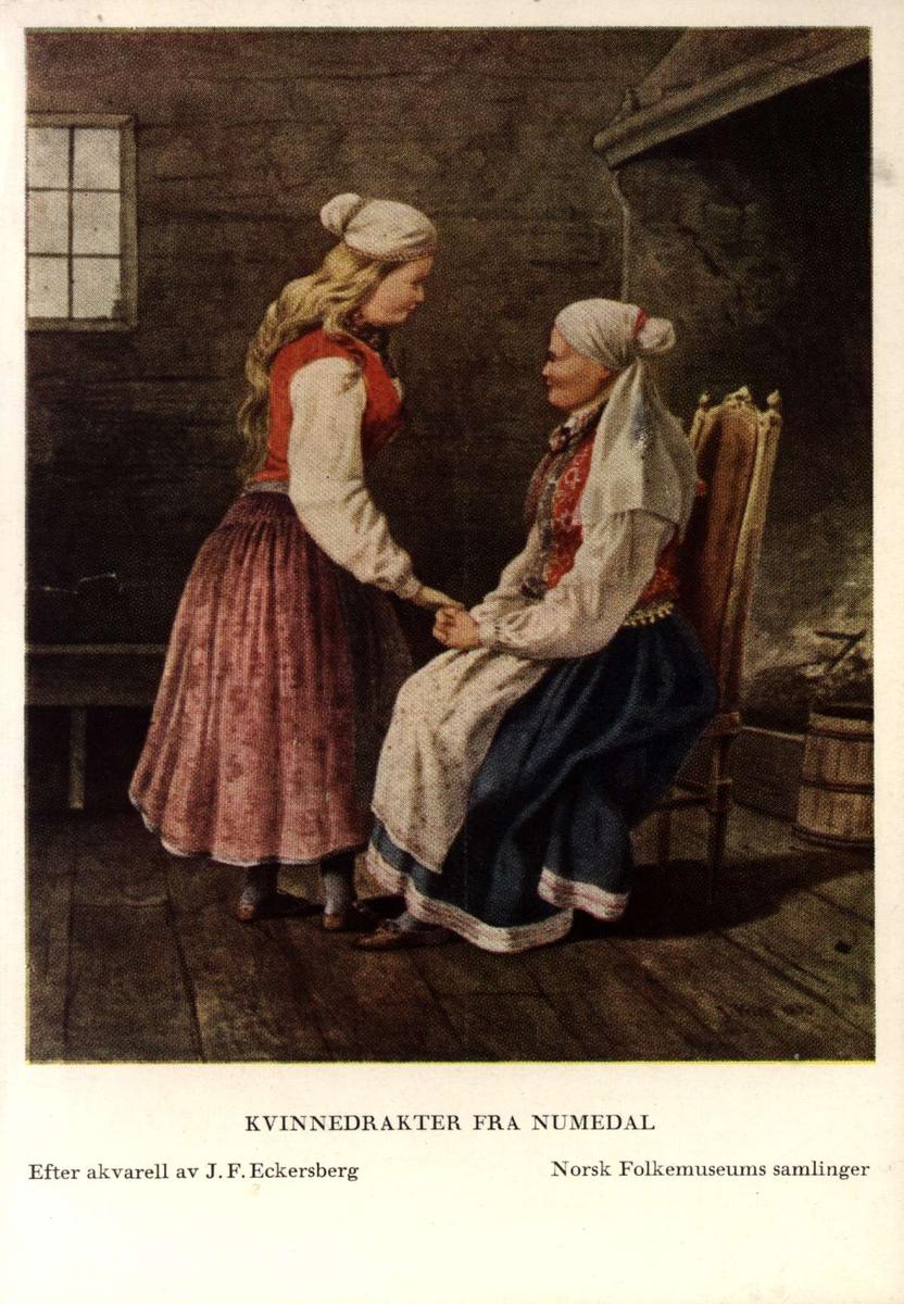 Postkort utgitt av Norsk Folkemuseum. Etter draktakvareller fra  JF Eckersberg. Kvinnedrakter fra Numedal.