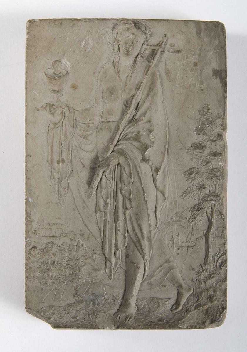 Kvinna med kors och kalk.