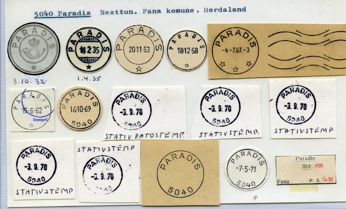 Stempelkatalog 5040 Paradis, Nesttun, Fana, Hordaland