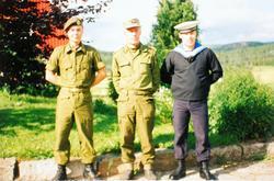 Verneplikt for far Handeland og 2 sønner i Hæren, Heimevernet og Marinen. Audnedal.