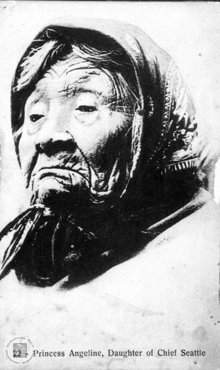 Portrett av indianer, Princess Angeline, Seattle, USA.