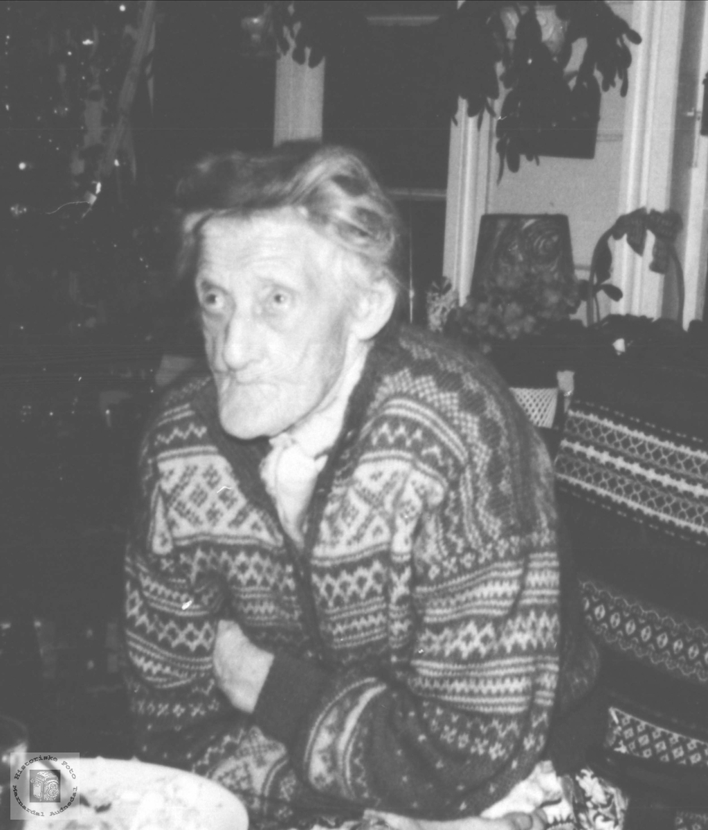 Portrett av Randi Birketveit i godstolen, Laudal.