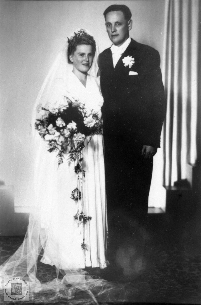 Brudeparet Bertha og Andreas Vigemyr, Øyslebø.