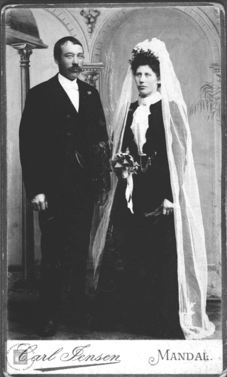 Brudebilde av Stian og Berta Manneråk, Øyslebø.