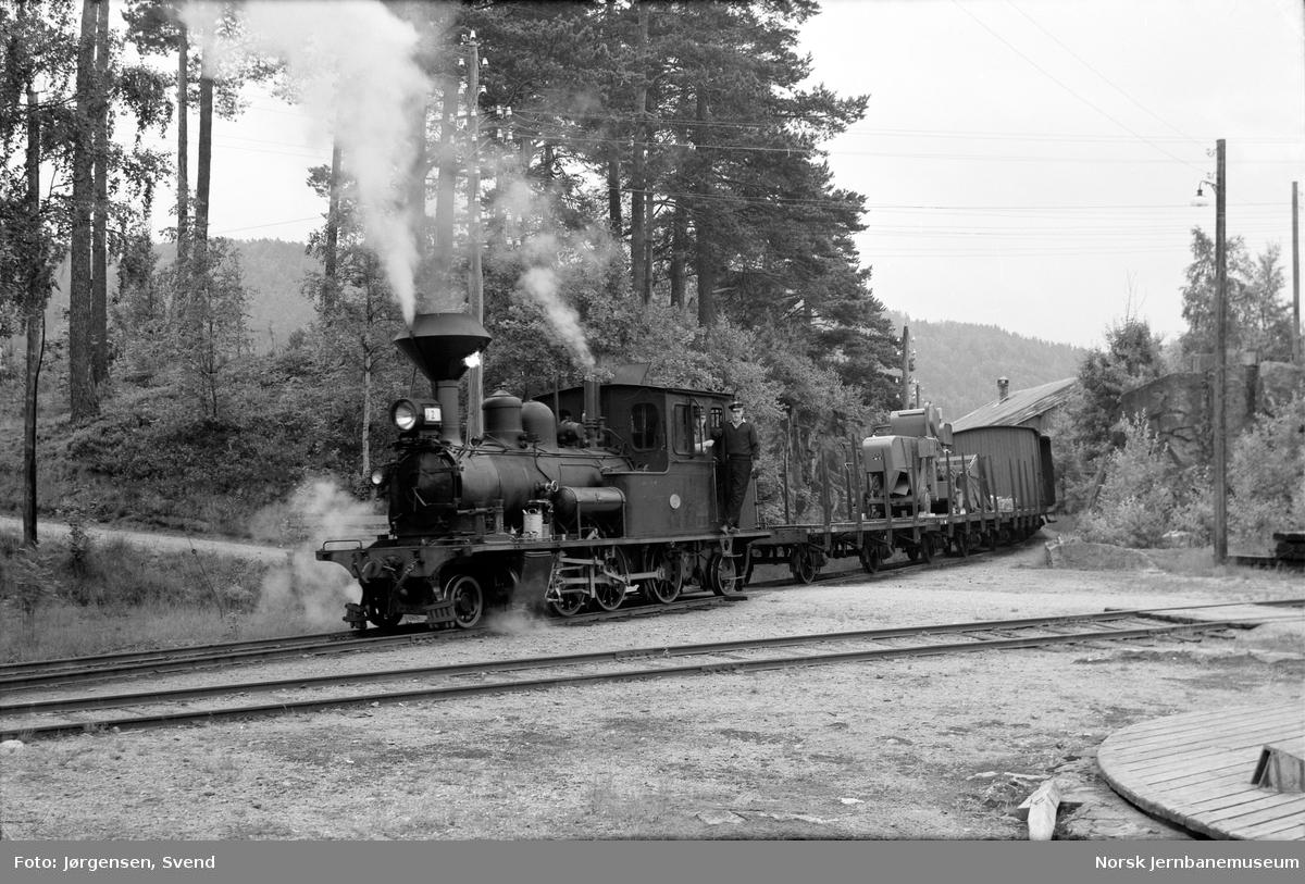 Damplokomotiv nr. 2 skifter på Hægeland stasjon