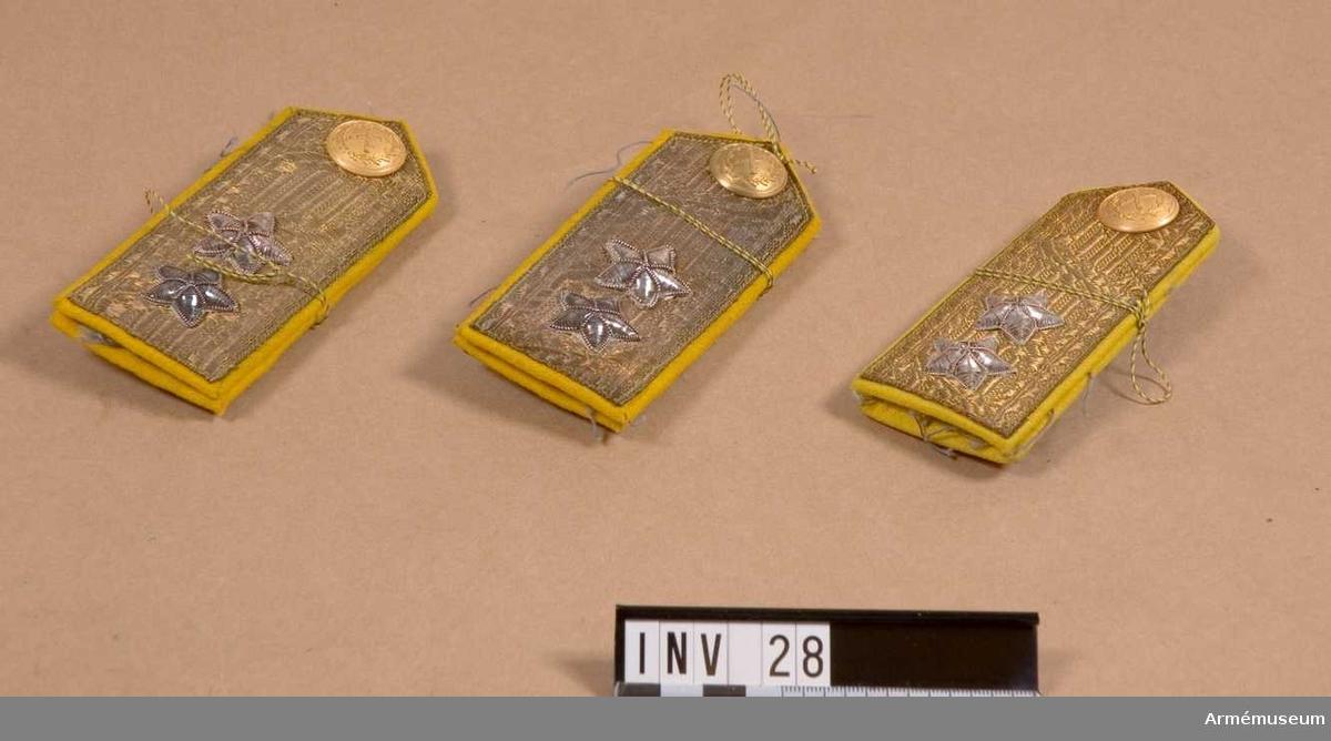 Klaffarna täckta av generalsgaloner. Försedda med två  stjärnor av silvertråd. 1 knapp i matt guldfärg för  generalitetet.   Tre par.