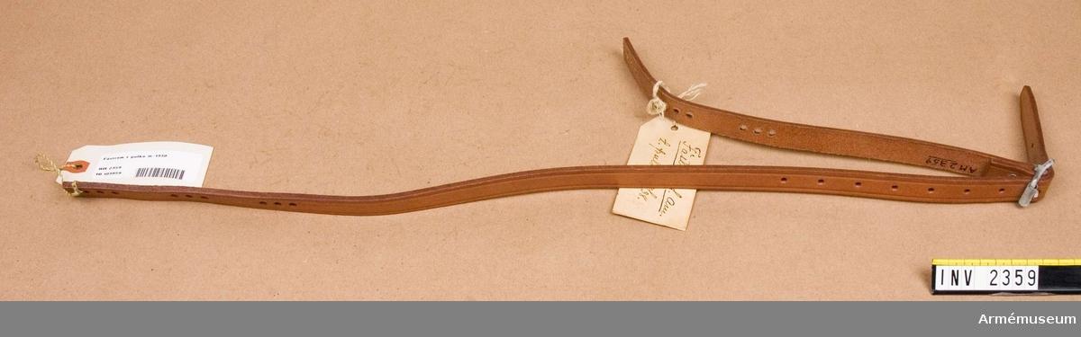 Fästrem t pulka m/1938. Arbetsmodell från konstruktionskontorets modellkammare,  märkt nr: 15-43.