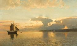 Sommerkveld ved Oslofjorden [Oljemaleri]
