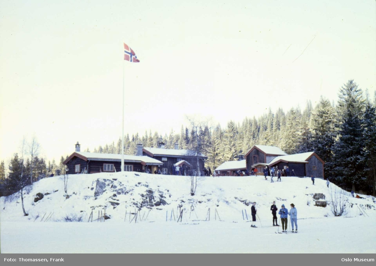 kulturlandskap, snø, hytte, flagg, skiløpere, skog