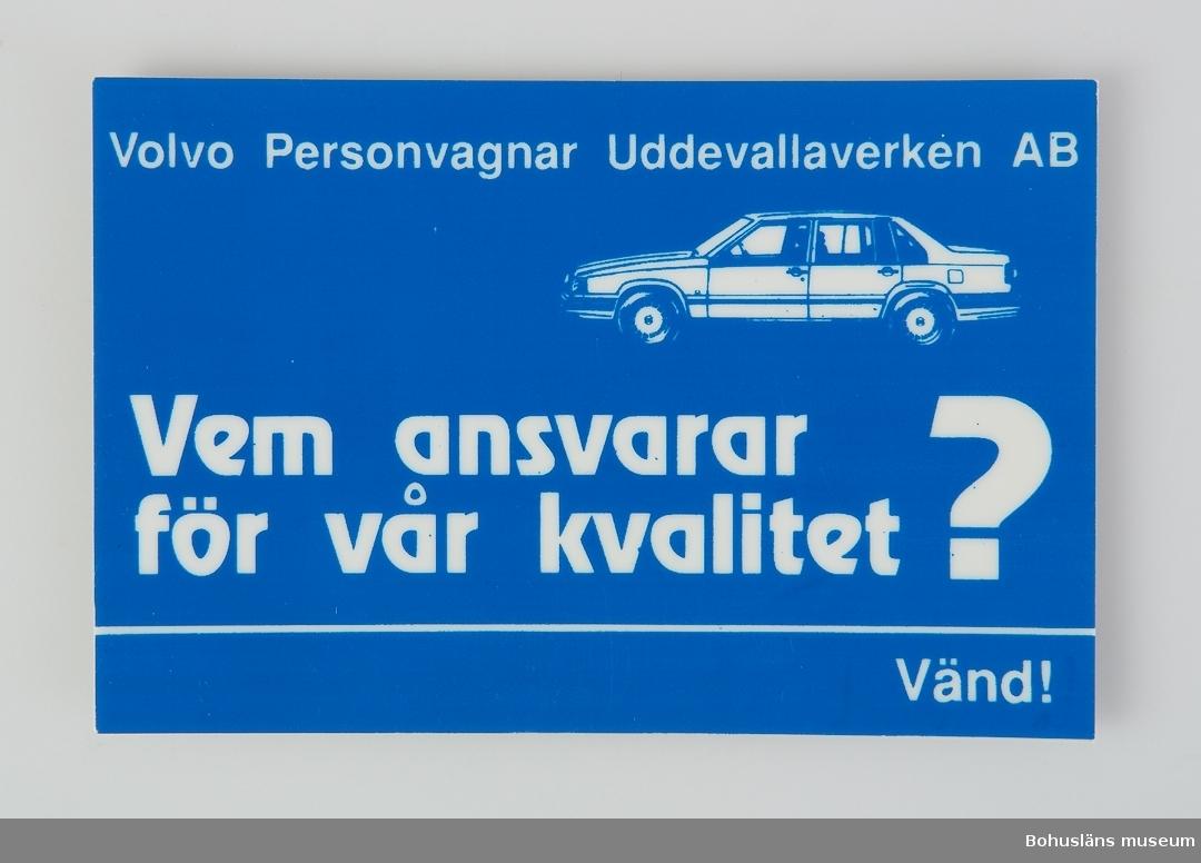 Föremål från bilfabriken Pininfarina / Volvo i Uddevalla.