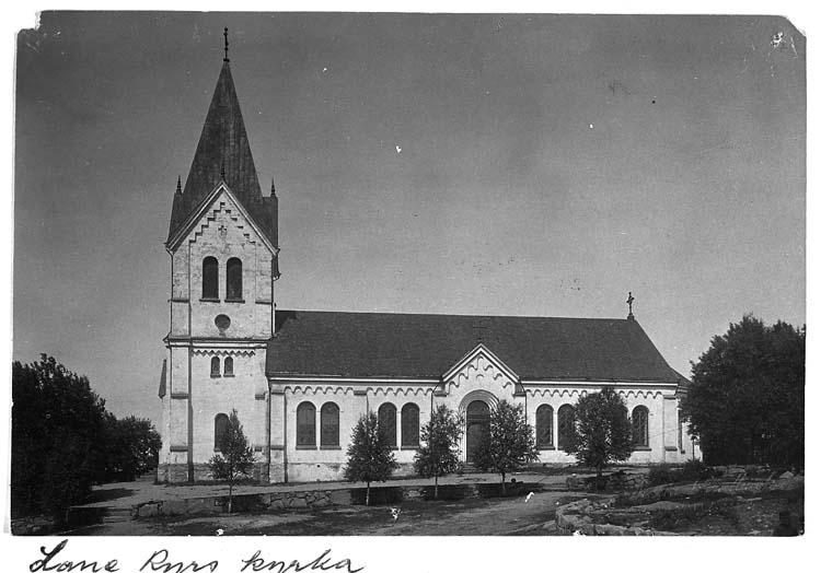 "Text på kortet: ""Lane Ryrs kyrka""."