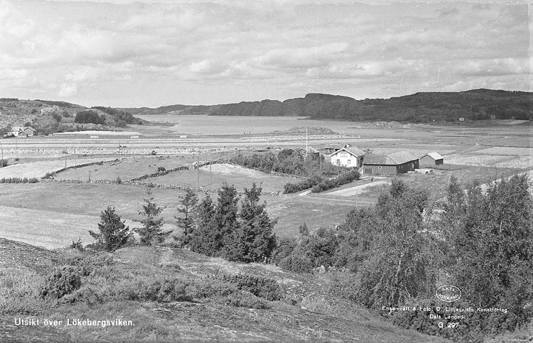 """Enligt AB Flygtrafik Bengtsfors: """"Lökeberg bortom kvarnen mot sjön Bohuslän"""". Enligt text på fotot: """"Utsikt över Lökebergsviken""""."""